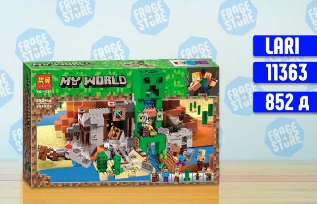 "Конструктор Lari Minecraft 11363 ""Шахта Крипера"", 852 д, Lego 21155"