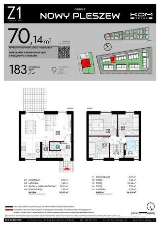 Mieszkanie 70,14 m2  plus strych 14m2, 2 miejsca postojowe, ogrod