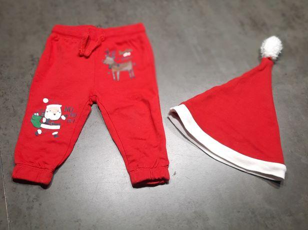 Czerwone spodnie z Mikołajem + czapka