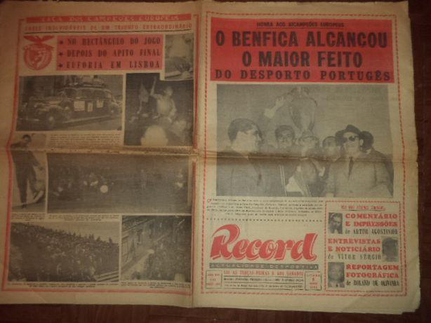 Jornal HISTÓRICO BENFICA BI-CAMPEÃO EUROPEU 61/62 Record 5/5/1962