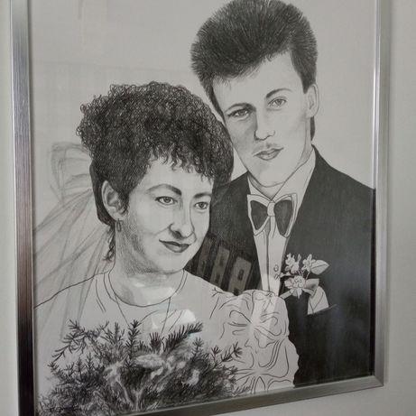 Portret, rysunek ze zdjecia 40x50cm