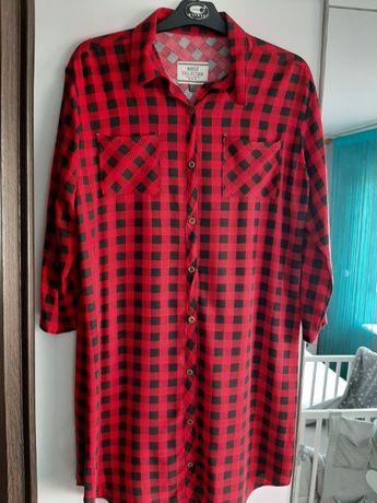 Długa koszula w czerwono – czarną kratkę rozm. L/XL