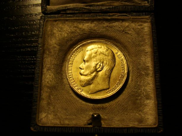 Złota Carska Rosja 25 rubli car Mikołaj moneta 1908