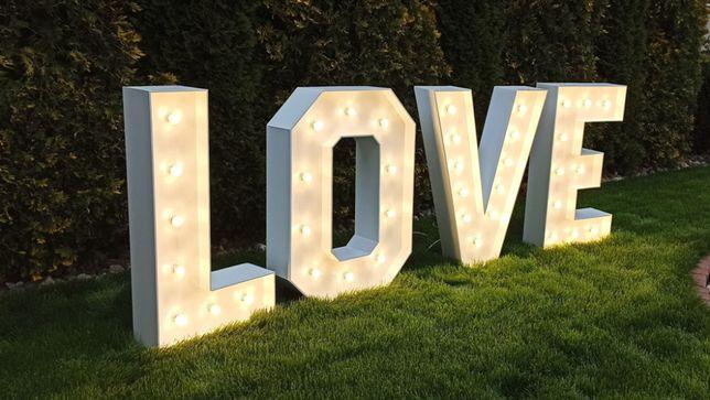 Dekoracja weselna napis LOVE, 18, 30, 40, 50, ciężki dym