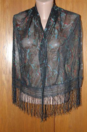Новый кружевной шарф черного цвета размером 40х150 см.