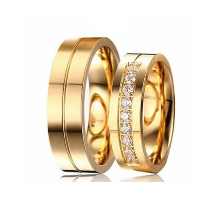 Zdobiona Piękna Para Złotych Obrączek Ślubnych