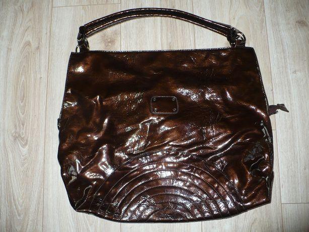 Duża torba lakierowana, brązowa - NOWA!!!