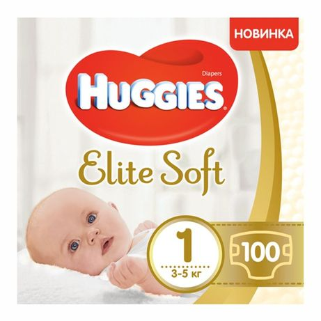 Huggies Elite Soft Newborn 1 (3-5 кг), 100 шт.