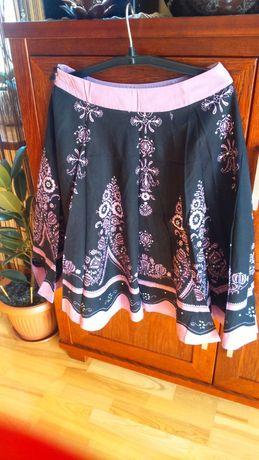 Spódnica cienka czarna bawełna +różowy motyw M
