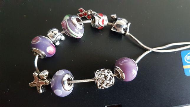 Zawieszki 9 sztuk do bransoletki typu pandora charms szklane