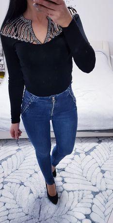 Spodnie sznurowane zip zamek lajkra