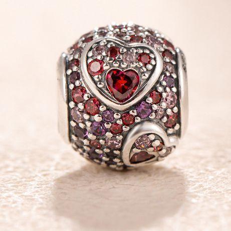 Шарм на браслет Пандора асимметричные сердца любви серебро бусина