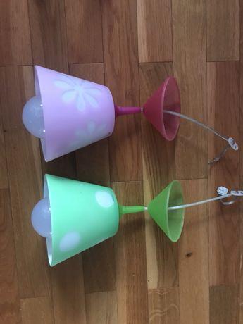Lampy sufitowe do pokoju dzieciecego różowa i zielona