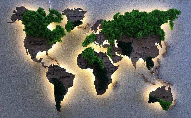 Карта Мира с подсветкой и с натуральным Мхом