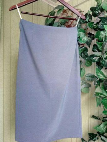 Юбка серо-голубая стрейчевая
