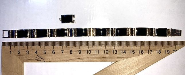 Продам браслет серебро с ониксом и золотыми вставками