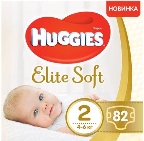 Подгузники памперсы підгузки Huggies Elite Soft 2 (4-6 кг), 82 шт.