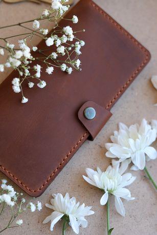 Подарок на 8 марта женский кожаный кошелёк портмоне ручная работа