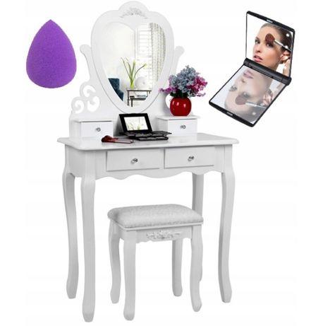 Piękna toaletka kosmetyczna lustro w kształcie serca +GRATISY