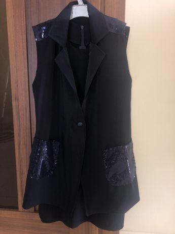 Платье школьное + кардиган (тёмно-синего цвета)