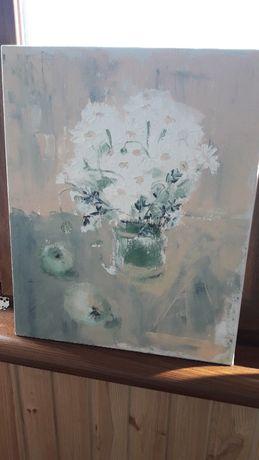 Картина маслом. Ромашки и яблоки. 40×50 Холст с подрамником