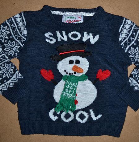 624^ george Świąteczny sweter Bałwanek 1/1,5L_86cm