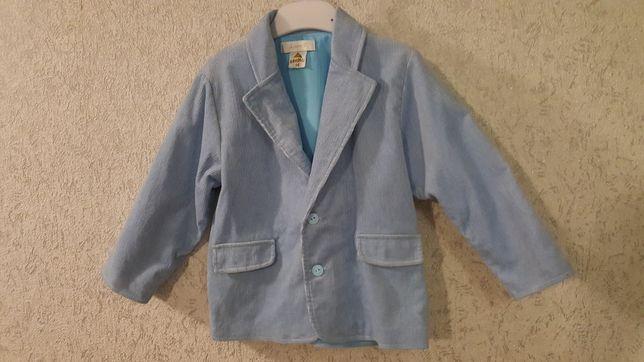 Błękitny komplet sztruksowy, garniturek, rozm 98