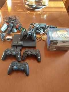 PS2 + 10 jogos + comandos buzz + camera eye pop