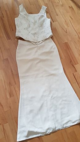 Komplet spódnica i gorset ecru rozmiar 40