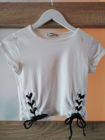 Bluzka biała na krótki rękaw z wiązaniem  XS new yorker