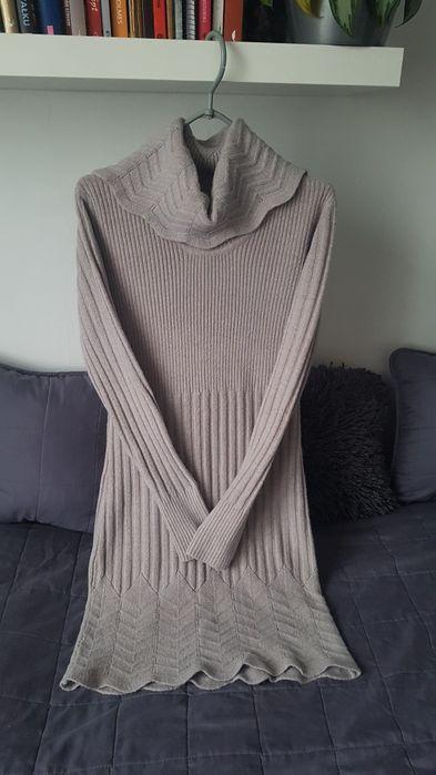 Ciepła tunika długi sweter sukienka S z golfem Warszawa - image 1