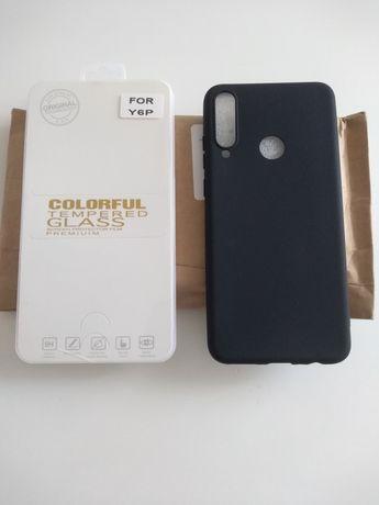 Huawei Y6P Capa de silicone e película protetora