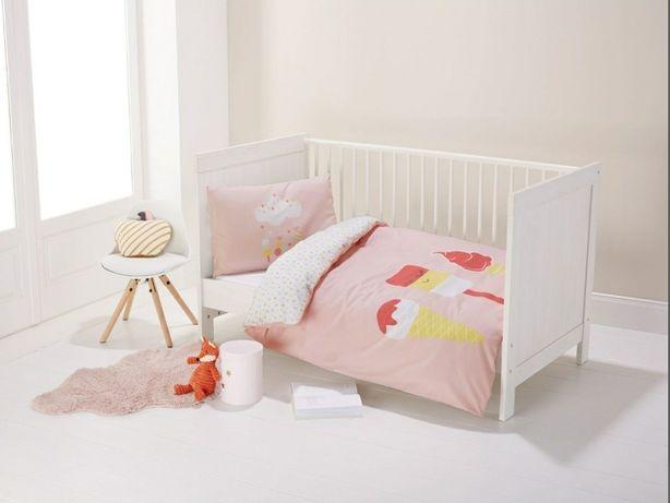 Nowa dwustronna pościel dziecięca niemowlęca do łóżeczka 130x100 lupil