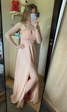 Brzoskwiniowa sukienka maxi rozmiar s/m
