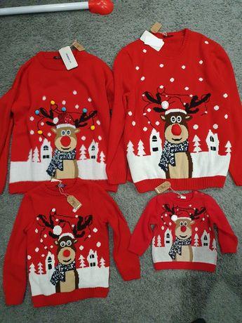 Новогодний свитер с оленем красный прокат family look  фемели лук
