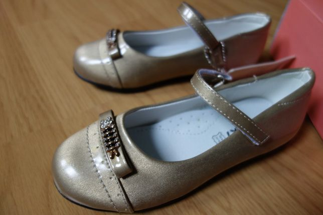 Nowe złote pantofelki baleriny 30 wkładka 19cm