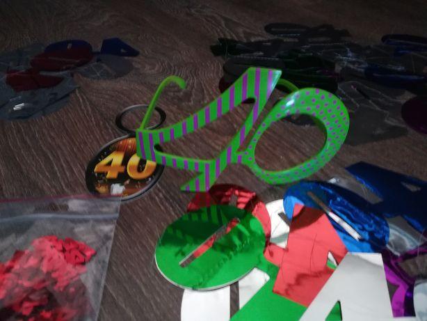 Okulary LICZBA 40 urodziny czterdziestka konfetti świderki