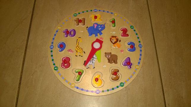 Zegar drewniany dla dzieci układanka