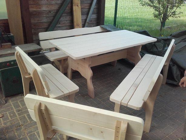 zestaw ogrodowy stół i 4 ławki klon suszone
