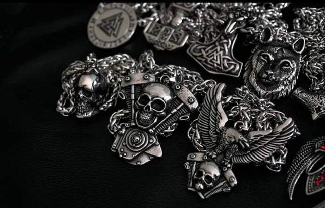 Broszka czaszka skrzydła Moto Chopper Wiking Metal Rock Gotyk Harley