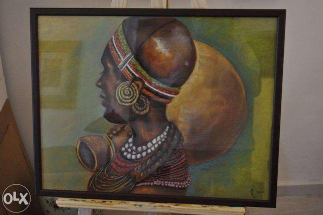 "Pastel seco sobre papel ""Mulher de África"" 53x68"