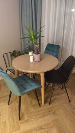 Stół okrągły rozkładany  jasne drewno