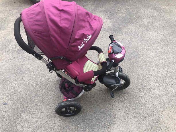 Детский трехколесный велосипед- коляска с родительской ручкой