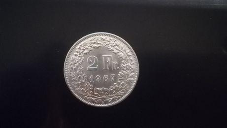 Moneta monety srebro srebrne srebrna 2 franki Szwajcaria 1964 rok roku
