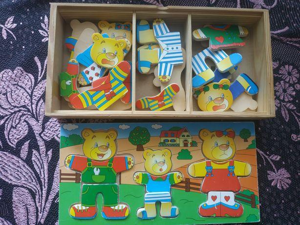 Деревянные эко игрушки пазл, собиралка, мишки одевашки
