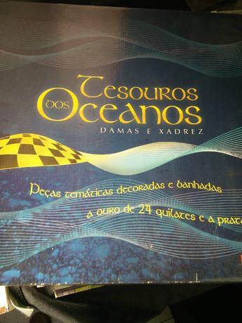 Xadrez dos Oceanos Completo banhado ouro 24K