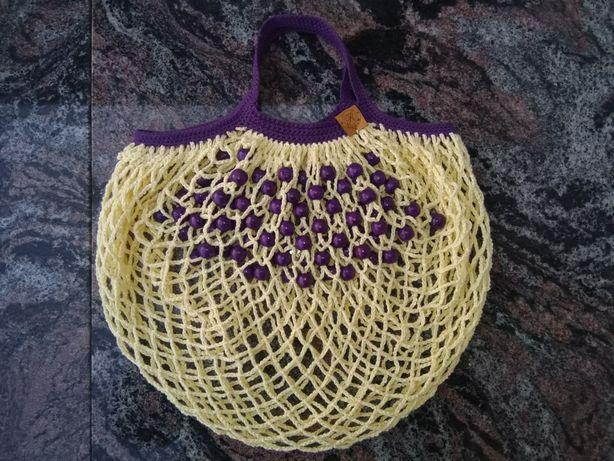Eko torba siatka 100% bawełna i drewno rękodzieło handmade