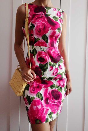 Sukienka vintage wesele kwiaty róże biała różowa S