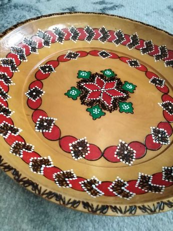 Vintage cudo drewniana misa, ręcznie malowana, zdobiona, wypalana syg
