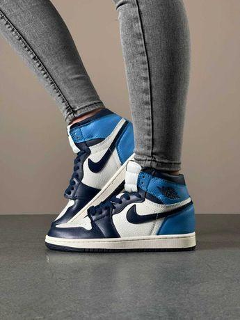 Синие кожаные кроссовки Nike Air Jordan 1 High White/Blue 36-40 р.